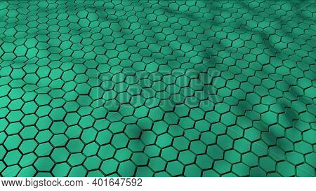 Abstract Green Color Hexagonal Geometry Patterns With Six Sided Polygon And With Smooth Wavy Motion