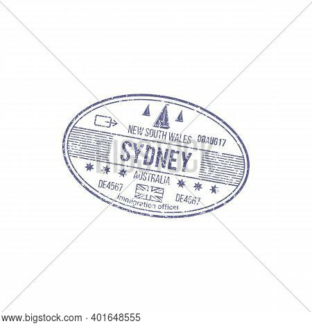 Grunge Rubber Stamp Isolated Visa To New South Wales, Sydney. Vector Immigration Officer Australia H