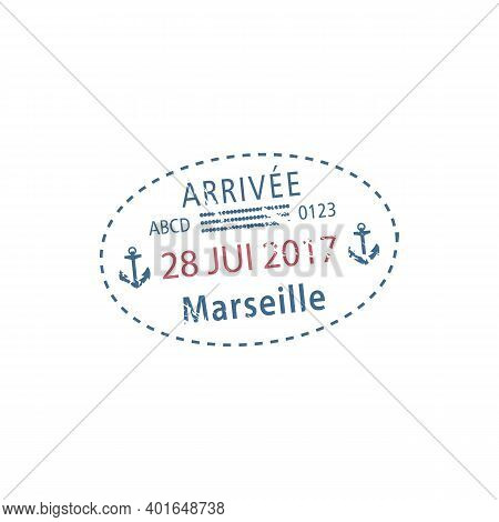 Marseille Airport Arrival Visa Stamp Isolated. Vector Travel To France, Date Of Arrival