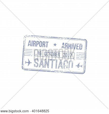 Santiago Airport Arrived Stamp Isolated. Vector Travel To Chile, Brazil Or Cuba