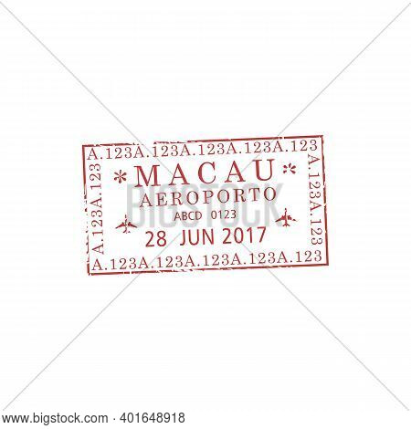 Macau Administrative Region Of China Airport Visa Stamp Isolated. Vector Departure Or Arrival Mark I