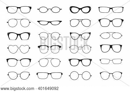Glasses Silhouette. Hipster Geek Optic Retro Frames. Black Plastic Silhouettes. Vintage And Contempo