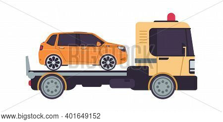 Tow Truck. Cartoon Evacuator. Side View Of Lorry Carries Automobile In Trunk. Isolated Transportatio
