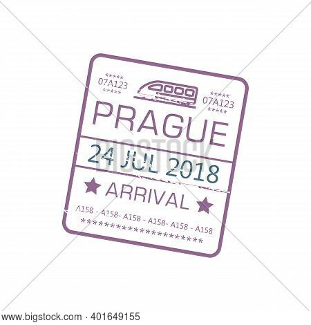 Prague Arrival Stamp To Railway Station Isolated Grunge Sign With Train And Date. Vector Grunge Immi