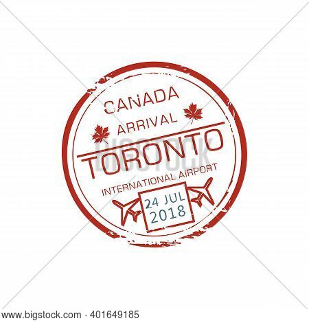 Toronto International Airport Visa Stamp Isolated Grunge Round Ink Seal. Vector Canada Border Contro