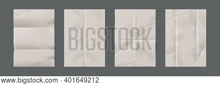 Wrinkled Paper. Realistic Blank Pages With Crumpled Effect. Isolated Unfilled Straightened Notepad S