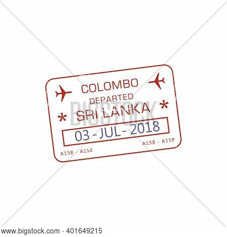 Departed From Colombo International Airport Visa Stamp Isolated Red Icon. Vector Stamp In Passport D