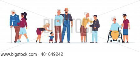 Old People With Relatives. Cartoon Men And Women Support Senior Parents. Cheerful Families With Chil