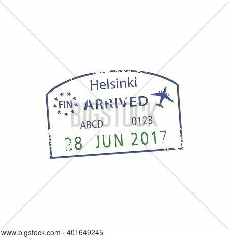 Helsinki Airport Arrival Sign On Isolated Visa Stamp. Vector Finland Border Passport Control Grunge