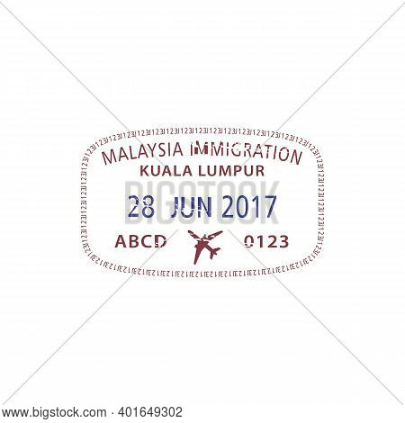 Kuala Lumpur Visa Airport Arrival Stamp Isolated. Vector Malaysia Immigration Sign, Border Crossing