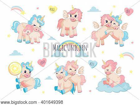Cute Unicorn. Adorable Character For Kids Birthday Card, Cartoon Funny Baby Unicorns With Rainbows C