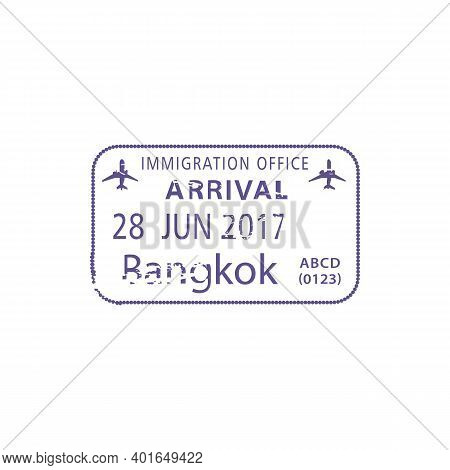 Bangkok Immigration Office Visa Stamp Isolated Template. Vector Thailand Passing Border Control Entr