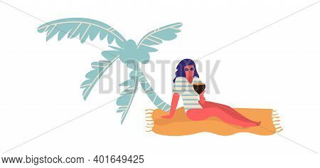 People At Beach. Cartoon Woman Lie On Sand Under Palm Tree. Isolated Young Female In Swimwear And Su