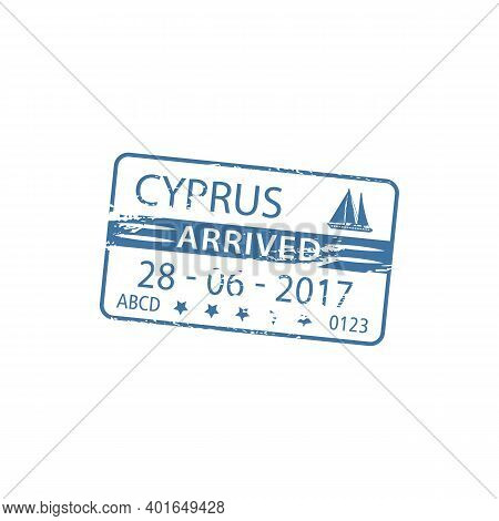 Cyprus Arrived Visa Stamp In Passport Isolated. Vector Port Harbor Nautical Border Control, Ship Sig