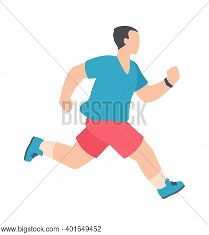 People Marathon. Athletic Male Character Running And Jogging, Active Man Healthy Summer Activity In
