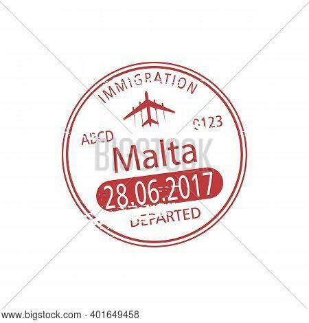 Republic Of Malta Isolated Departed Stamp. Vector Malta Airport Visa Template, Border Control