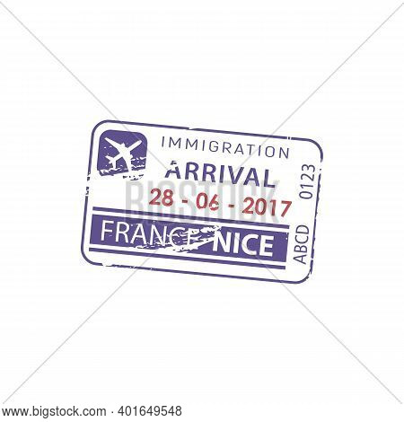 Nice, France Immigration Arrival Visa Isolated Stamp. Vector Border Passing Passport Control Documen