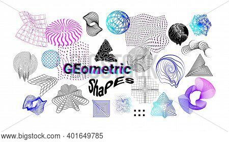 Digital Shapes. Abstract Cyberpunk Graphic Elements. Decorative Flowing Down Textures And Glitch Eff