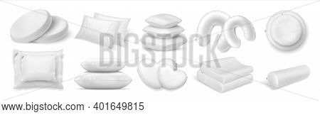 Realistic Cushion. 3d White Bed And Sofa Pillows. Collection Of Round And Square Or Roll Interior De