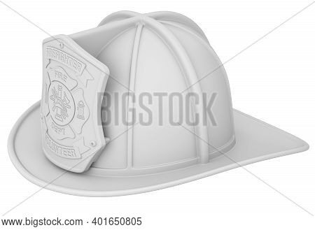 Clay Render Of Firefighter Helmet Isolated On White Background - 3d Illustration