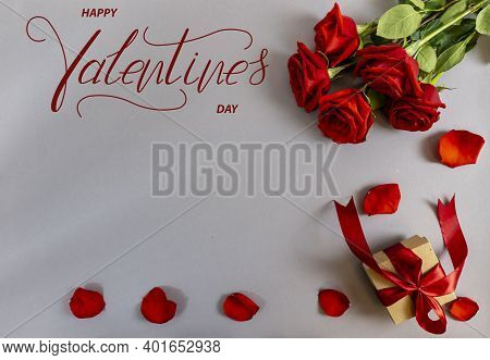 Happy Valentine's Day! Card, Online Banner, Greeting Card, Flat Lay On Valentine's Day With Red Rose