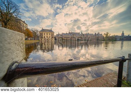The Hague, The Netherlands - November 10, 2020: Cityscape Of The Hague With The Historic Mauritshuis