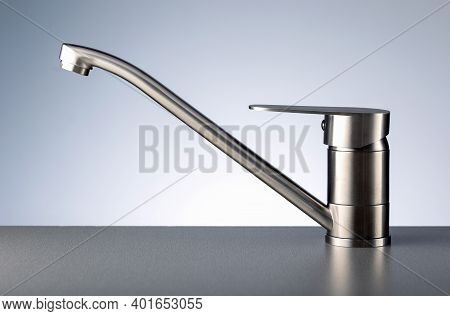 Faucet, Chrome Stainless Metal Faucet In Bathroom Or Kitchen.