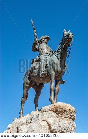 Windhoek, Namibia - June 09, 2012: View Of The Reiterdenkmal, A German Era Statue, In Windhoek