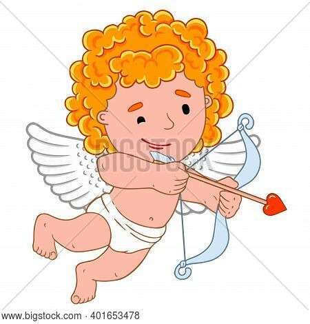 Stock Vector Graphics Little Cute Black Angel Shoots With Bow Arrow. Valentine's Day