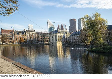 The Hague, The Netherlands - November 9, 2020: Peace And Quiet At The Courtyard, Due To The Lockdown
