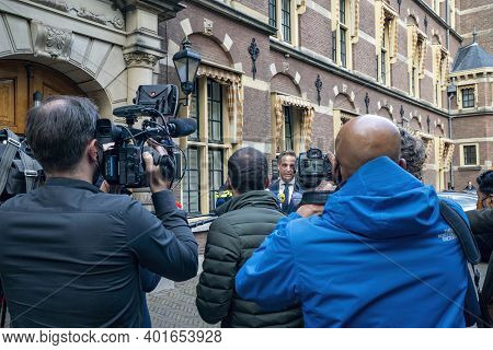 The Hague, The Netherlands - November 10, 2020: Press Conference In The Courtyard, Because Of The Lo