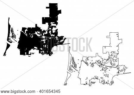 Clearwater City, Florida (united States Cities, United States Of America, Usa City) Map Vector Illus