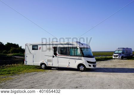 Ares, Aquitaine / France - 12 12 2020 : Rapido 896f Campervan Parked By The Sea Side