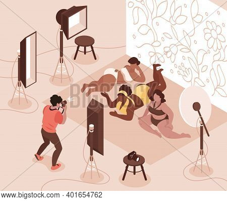 Photographer Taking Photos Of Plump Body Positive Models In Swimsuits 3d Isometric Vector Illustrati