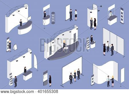 Expo Stand Isometric Colored Set On Lilac Background With Consultants Visitors Staff Working For Exh