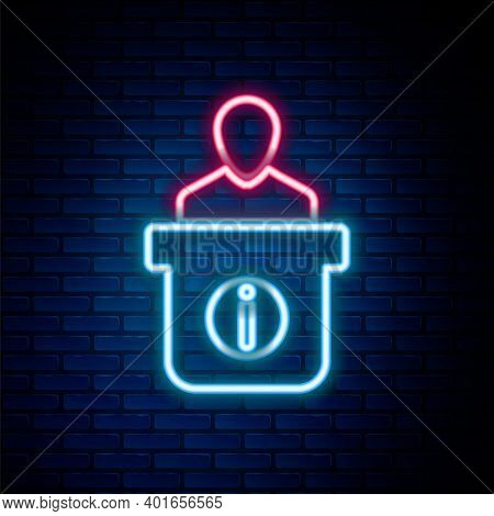 Glowing Neon Line Information Desk Icon Isolated On Brick Wall Background. Man Silhouette Standing A