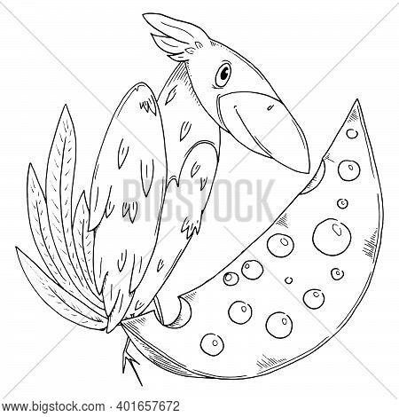 Crow With Cheese. Vector Cartoon Crow. Bird.