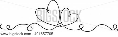 Continuous Line Drawing Of Love Sign With Two Hearts Embrace Minimalism Design On White Background.