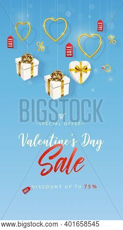 Valentines Day Sale. Vertical Banner, Flyer, Poster, With Realistic Design Elements, Gift Box, Metal