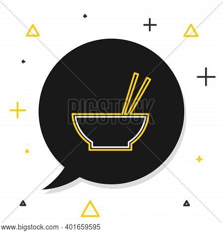 Line Bowl With Asian Food And Pair Of Chopsticks Silhouette Icon Isolated On White Background. Conce