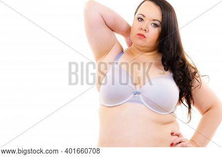 Woman Big Breast Wearing Bra