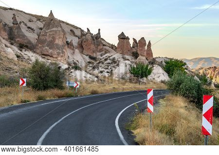 Goreme, Turkey - October 4, 2020: This Is A Road Passing Through The Valley Of Imagination With Rock