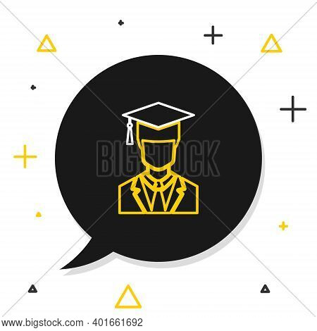 Line Male Graduate Student Profile With Gown And Graduation Cap Icon Isolated On White Background. C
