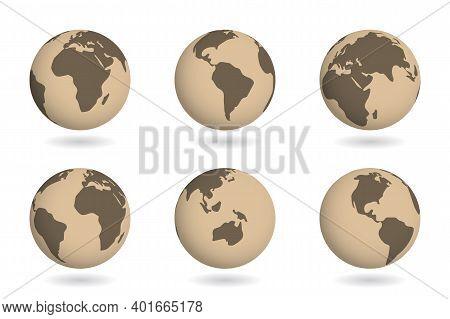 Ancient Map On Earth Globe Planet. Historical World 3d Design. Vintage Brown Color Land. Vector Illu