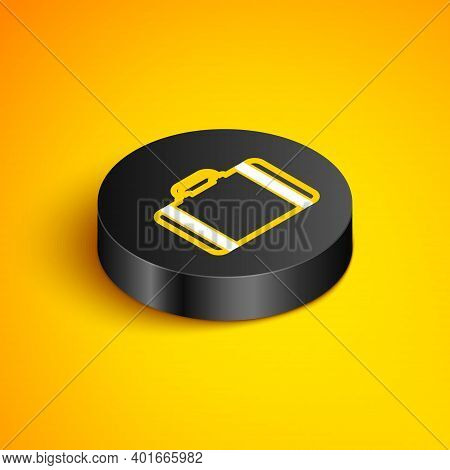 Isometric Line Suitcase For Travel Icon Isolated On Yellow Background. Traveling Baggage Sign. Trave
