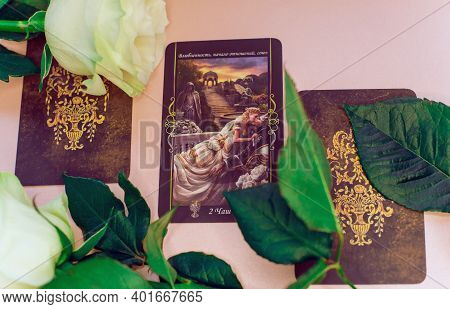 Love Tarot Cards, Mystical Rituals For Attracting Lover, Destiny. Europe, Ukraine. Kiev January 1 :