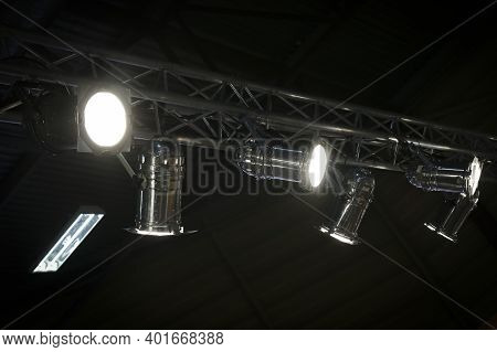 Lighting Equipment On The Stage Of The Theatre During The Performance