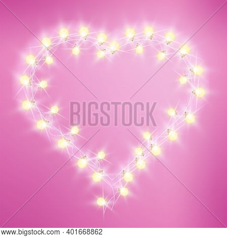 Valentines Day Heart-shaped Love Lights Pink Background With Bulbs, Garland. Holiday Romantic Bright
