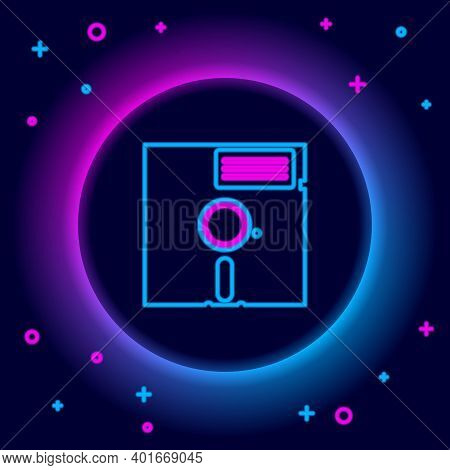 Glowing Neon Line Floppy Disk In The 5.25-inch Icon Isolated On Black Background. Floppy Disk For Co