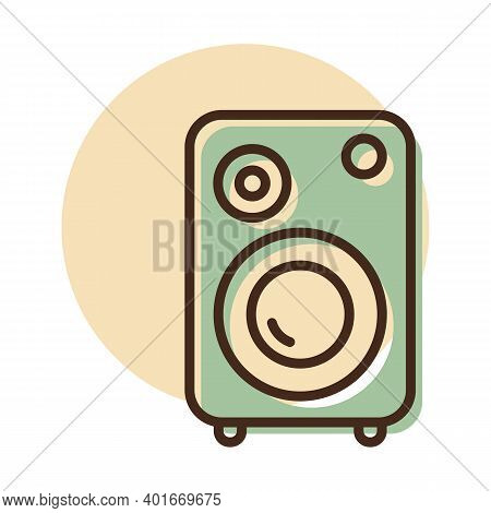 Music Column Vector Flat Icon. Graph Symbol For Music And Sound Web Site And Apps Design, Logo, App,
